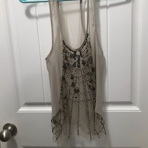Sheer Tank with Beaded Detail